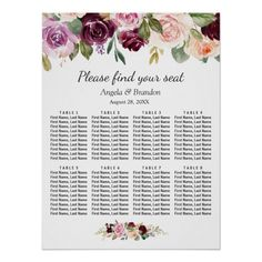 Shop Purple Blush Floral 8 Tables Wedding Seating Chart created by CardHunter. Seating Chart Wedding, Seating Charts, Wedding Table, Purple Blush, Create Your Own Poster, Personalised Wedding Invitations, Poster Making, Custom Posters, Custom Framing