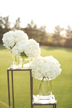 White Hydrangea Wedding Decor (with gold vases) Small White Flowers, White Wedding Flowers, Floral Wedding, Wedding White, Burgundy Wedding, Irish Wedding, Bridal Flowers, Hydrangea Wedding Decor, Wedding Bouquets