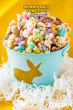 Bunny Bait Funfetti Popcorn is a fun and festive recipe that comes together in 1minuteses. It is perfect for Easter and the kids are going to love it! And the adults too.