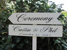 Rustic Wedding Arrow signs Directional, Personalized Ceremony Parking Reception on Stake Roadside sign - pinned by pin4etsy.com