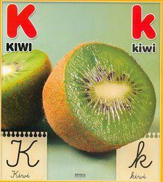 Material educativo para maestros: Abecedario con imagenes reales Kiwi, Fruit, Animal, Board, Initials, Index Cards, Activities, Illustrations