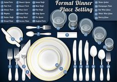 The Formal Table Setting. A complete guide to table settings including setting a table, selecting and purchasing tableware, and taking care of tableware. Comment Dresser Une Table, Dresser La Table, Table Setting Etiquette, Dining Etiquette, Etiquette Dinner, Wein Parties, Formal Dinner Setting, Good Table Manners, Dinner Places