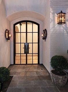 Garden Studio Design - Seaward Custom - Exposed Brick Exterior - Orange County - Contractor - Patterson Custom Homes Brick, Doors, Home, Exposed Brick, White Brick, Custom Homes, Farmhouse Entry, Entry Hallway, Iron Doors