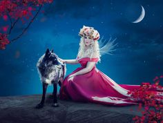 Woman with wolf - digital art Fairy Tail, Disney Characters, Fictional Characters, Wolf, Digital Art, Aurora Sleeping Beauty, Game Of Thrones Characters, Disney Princess, Fairytail