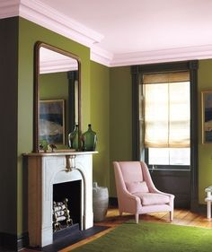 Oregano by Benjamin Moore. That's the paint color I want for our living room (in between floor to ceiling bookshelves)