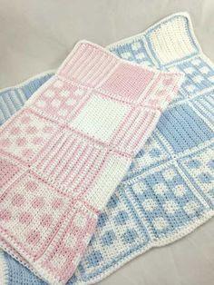 spot and stripe free crochet baby blanket