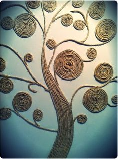Beautiful Rope twined Tree as a Wall Art. This is another creative idea to use the leftover rope to twine in the shape of the tree.It can be a wonderful wall art for your home decor.twine tree--why not use scrap fabric twine?Art twine tree - I would paint Tree Wall Art, Diy Wall Art, Diy Art, Twine Crafts, Diy And Crafts, Arts And Crafts, Decor Crafts, Art Decor, Sisal