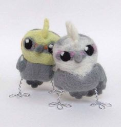 Totally Cute - Needlefelted Bird Punky Cockatiel Real Bird by feltmeupdesigns