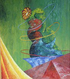 "Marian Lupu LUPINO -Email: mlupubm@yahoo.com -""HolaHop Cactus""-oil on canvas-1995-57x51 cm- 2900$"