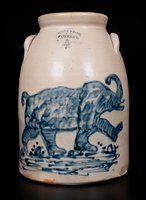 Extremely Important West Troy, NY Stoneware Elephant Crock -- Lot 1 -- July 2015 Stoneware Auction -- Crocker Farm, Inc. Stoneware Crocks, Antique Stoneware, Antique Pottery, Blue Pottery, Antique Crocks, Old Crocks, Whisky, Face Jugs, Antique Bottles