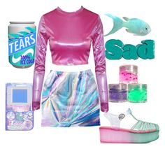 """""""Vaporwave Grrrl"""" by doritos-in-space ❤ liked on Polyvore featuring Wanted Shoes, 90s, holographic, Trippy, vaporwave and aesthetic"""