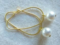 24kt gold hand made oval hoop earrings with white Japanese fresh water pearls $40 on sale now 9/9/2013