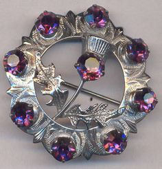 Vintage Scottish Brooch...MIZPAH...Amethyst Rhinestone Thistle Brooch...Collectible Thistle Brooch Scottish Pins