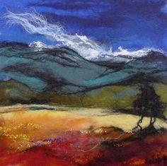 Highland landscape by Moy Mackay Cow Painting, Thread Painting, Landscape Quilts, Landscape Art, Mountain Landscape, Landscape Paintings, Patchwork Quilting, Wet Felting, Needle Felting