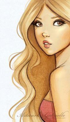 Beautiful blond girl illustration / Bella ragazza bionda, disegno, illustrazione - Artwork by Gabrielle