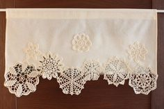 Curtain with crochet doilies, cafe curtain, valance, window decor,