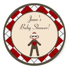 "6 - 3"" Favor Stickers Red Sock Monkey Argyle"