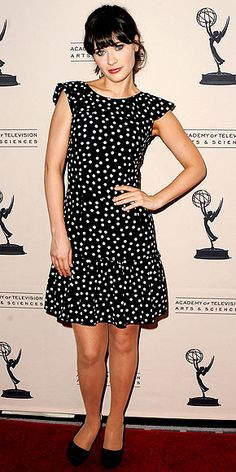zooey-deschanel- in polka dots! Love this look? get it with our Kismet polka dot dress!