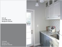 Gray and white cabinets benjamin moore...