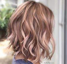 Rose Gold Brown Hair - Blayage Wavy Lob Hairstyle 2017