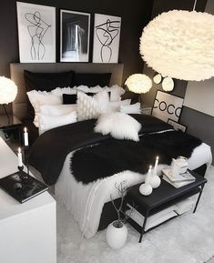 hom e bedroom decor ideas ispo inspiration decorations cozy pillows bed home swe. - hom e bedroom decor ideas ispo inspiration decorations cozy pillows bed home sweet home dark black white Cute Bedroom Ideas, Cute Room Decor, Room Ideas Bedroom, Home Decor Bedroom, Black Bedroom Decor, Black Bed Room Ideas, Black Bedroom Design, Bedroom Inspo, Black Bedroom Furniture