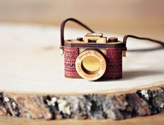 Wood and Leather Camera Necklace Aztec Red Brown by StrangelyYours, Classic brown with Gold or Brass Chain