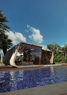 Pool House by Archtecture study) Lumo Studio Arch & Design on Behance Marina Bay Sands, Home Projects, Photoshop, Study, Mansions, Architecture, House Styles, Building, Outdoor Decor