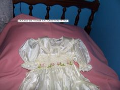 silk smocked flower girl gow with rose petals hand embroidered 0427820744 Cutiepye Australia