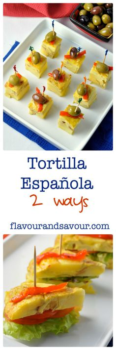 Traditional Spanish tapa two ways--as finger food or as a brunch item. Great for holiday breakfasts! Easy to make, always turns out. Spanish Cuisine, Spanish Tapas, Spanish Dinner, Spanish Party, Spanish Food, Tortillas, Spanish Appetizers, Brunch Recipes, Brunch Food