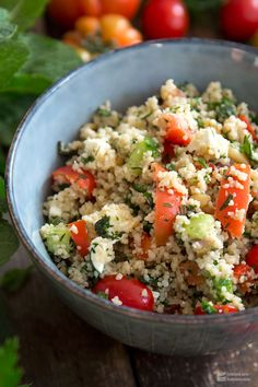 Couscous with tomato, cucumber, feta & herbs