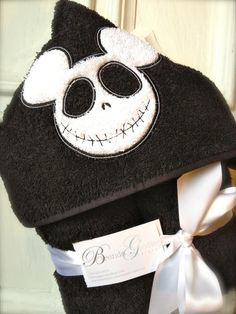 Hooded Towel, Beach, Pool, Bath-Mickey Mouse Head Jack Skellington Nightmare Before Christmas on Etsy, $25.00