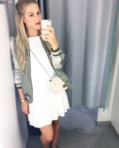 Obsessed with bomber jackets/ blousons in combination with this white skater dress.