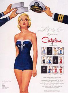 "Catalina vintage swimwear - ""Lovely things happen if you're a Catalina"" Vintage Bathing Suits, Vintage Swimsuits, Women Swimsuits, Retro Swimwear, Nautical Fashion, Retro Fashion, Vintage Fashion, Style Retro, Style Vintage"