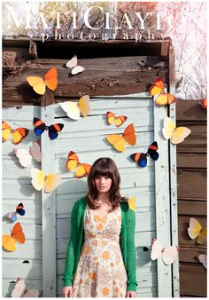 great prop idea for a photo shoot.  butterflies, panels, doors, outdoors, portrait, props