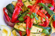 Lemon red capsicum and courgette salad recipe, NZ Womans Weekly – This is a great salad that is inexpensive healthy and easy to prepare - Eat Well (formerly Bite) Vegetarian Recipes, Cooking Recipes, Healthy Recipes, Weekly Recipes, Healthy Foods, Capsicum Recipes, Parmesan Squash, Lime Vinaigrette