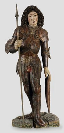 Saint-Georges, vers 1480  Bois de tilleul, ancienne version polychrome, H 81 cm. Provenance : Collection Max Hartmann, Bâle  Vendu à: collection privée