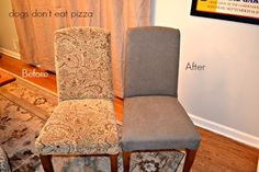 Reupholstered parsons chair before and after - dogsdonteatpizza.com