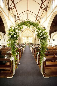 A Floral Arch IN the church - love this wedding ceremony idea! On SMP: www. A Floral Arch IN the church - love this wedding ceremony idea! On SMP: www. Wedding Ceremony Decorations, Wedding Centerpieces, Wedding Bouquets, Church Decorations, Wedding Ideas, Wedding Inspiration, Wedding Dresses, Wedding Planning, Tall Centerpiece