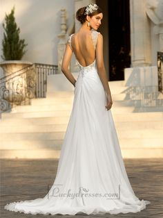 Beaded Cap Sleeves Sweetheart A-line Simple Wedding Dresses with Low Open Back Sale On LuckyDresses.com With Top Quality And Discount