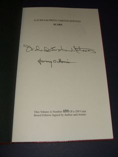 Signed Limited First Edition of Scars by Richard Christian Matheson,Scream Press