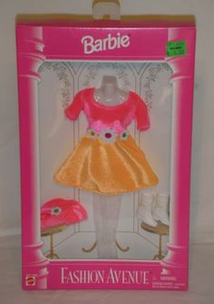 1995 Barbie Fashion Avenue Yellow and Pink Dress