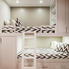 Home Decoration: Guest Room – Contemporary bunk room features white built in bunk beds, with top bunk bed fitted with modular shelves, dressed in white and gray chevron bedding. Kids Bedroom, Bedroom Design, Bed, Bedroom Decor, Girl Room, Home Decor, Cool Rooms, Bunk Beds Built In, Room Design
