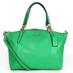 Coach Pebbled Leather Small Kelsey Satchel Cross Body Bag Green ** Click on the image for additional details.