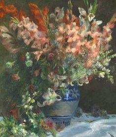 Pierre Auguste Renoir. Gladioli in a Vase 1874-75