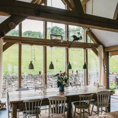 Oak Frame Self Sufficient Home Dining Room