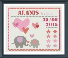 cross stitch baby birth sampler birth announcement por Happinesst