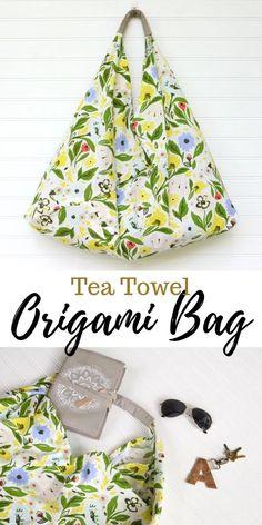 Tea Towel Origami Bag Sewing Tutorial - Simple and Customizable!