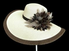 """Women's Kentucky Derby Hat, Easter Hat, Spring Fashion Hat, in Ivory, Brown and Black - """"CAPO BEACH CHARISMA"""""""