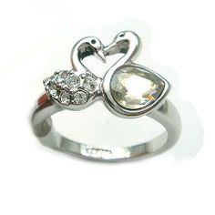duck band rings | Pair of Duck White CZ 18K GP Ring 094909