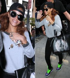 Rihanna in Karen Walker sunglasses, Chanel sweater, Air Jordan sneakers, Givenchy tote.